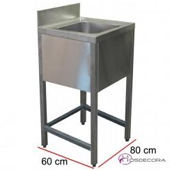 Fregadero de 1 cuba con bastidor 80 x 60 cm