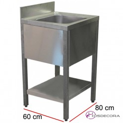 Fregadero de 1 cuba con estante 80 x 60 cm