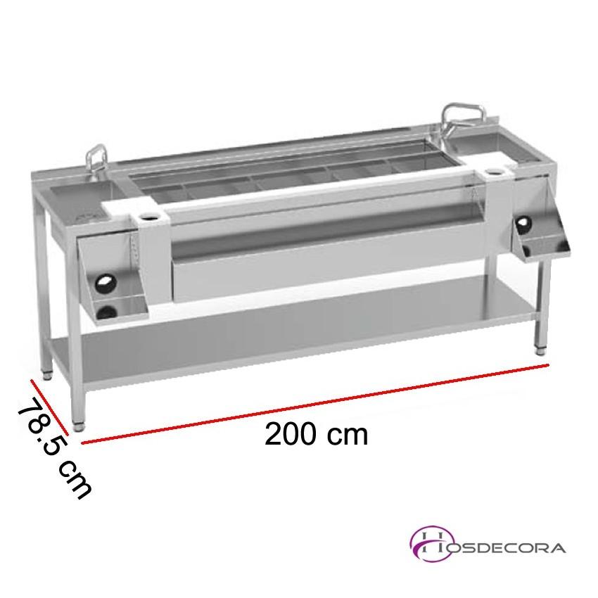 Mesa doble preparación cóctel con estante MBCN-200-E