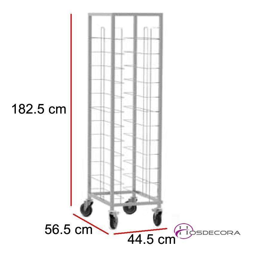 Carro bandejero acero inox 12 guías 44.5 x 56.5 cm