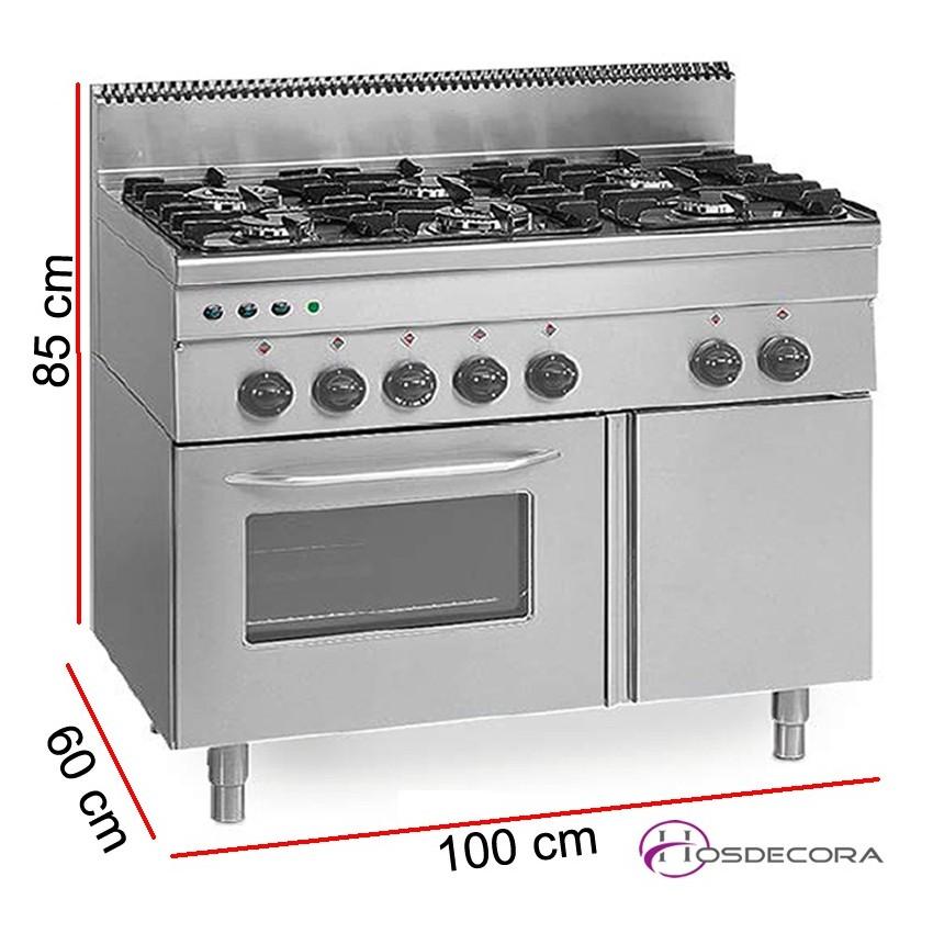 Cocina a gas Fondo 60 cm 6 Fuegos + horno