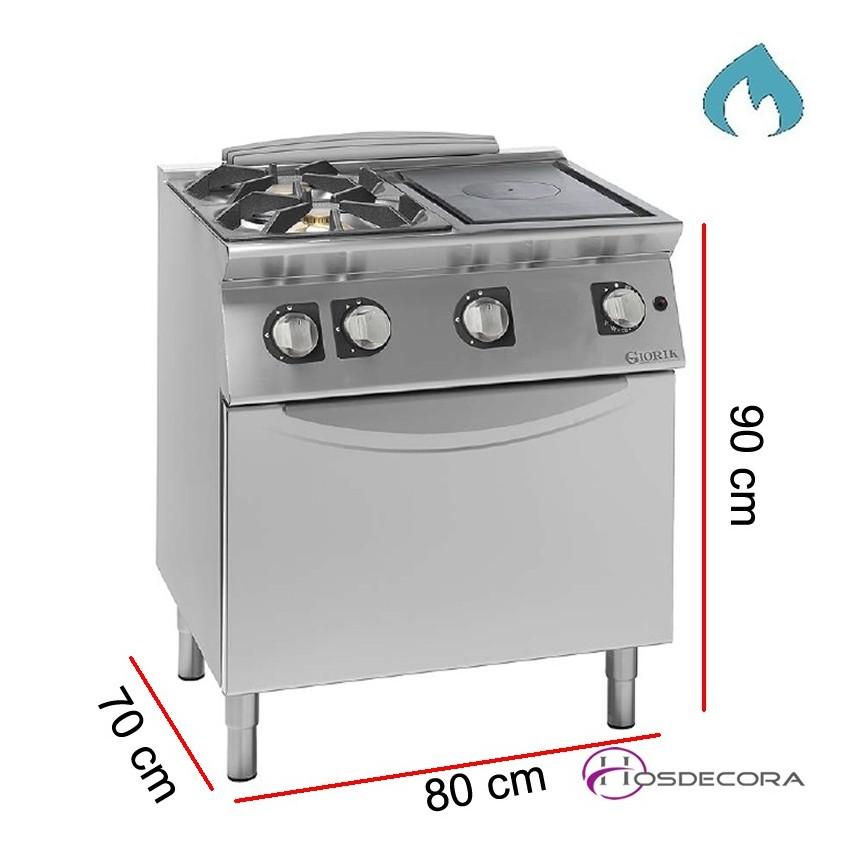 Cocina de gas + Horno con Placa Radiante 70 cm Fondo