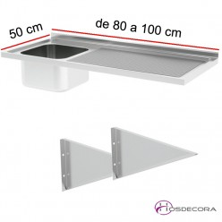 Fregadero ECO Fondo 50, 1 cubeta y escurridor, desde 80 hasta 100 cm.