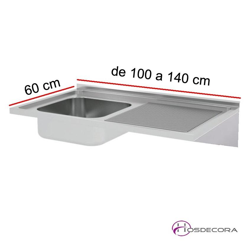 Fregadero ECO Fondo 60, 1 cubeta y escurridor, de 100 a 140 cm.