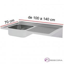 Fregadero ECO Fondo 70, 1 cubeta y escurridor, de 100 a 140 cm.