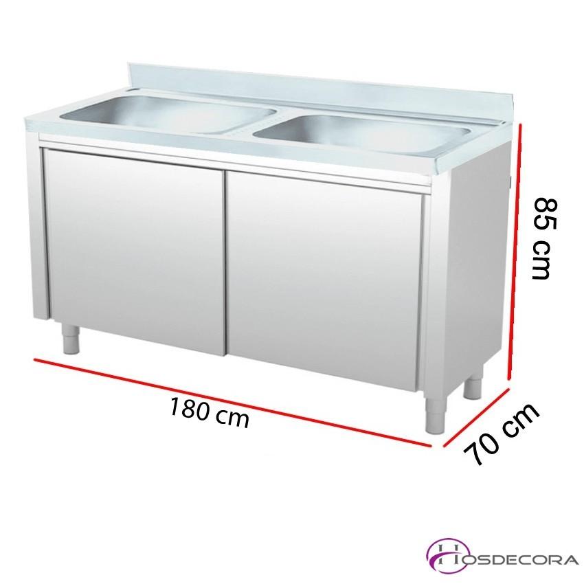 Fregadero 2 cubas con puertas correderas - Fondo 70