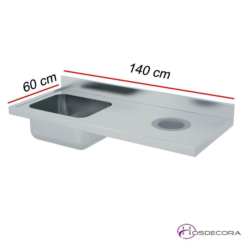 Fregadero con aro de desbarce 140 X 60 cm