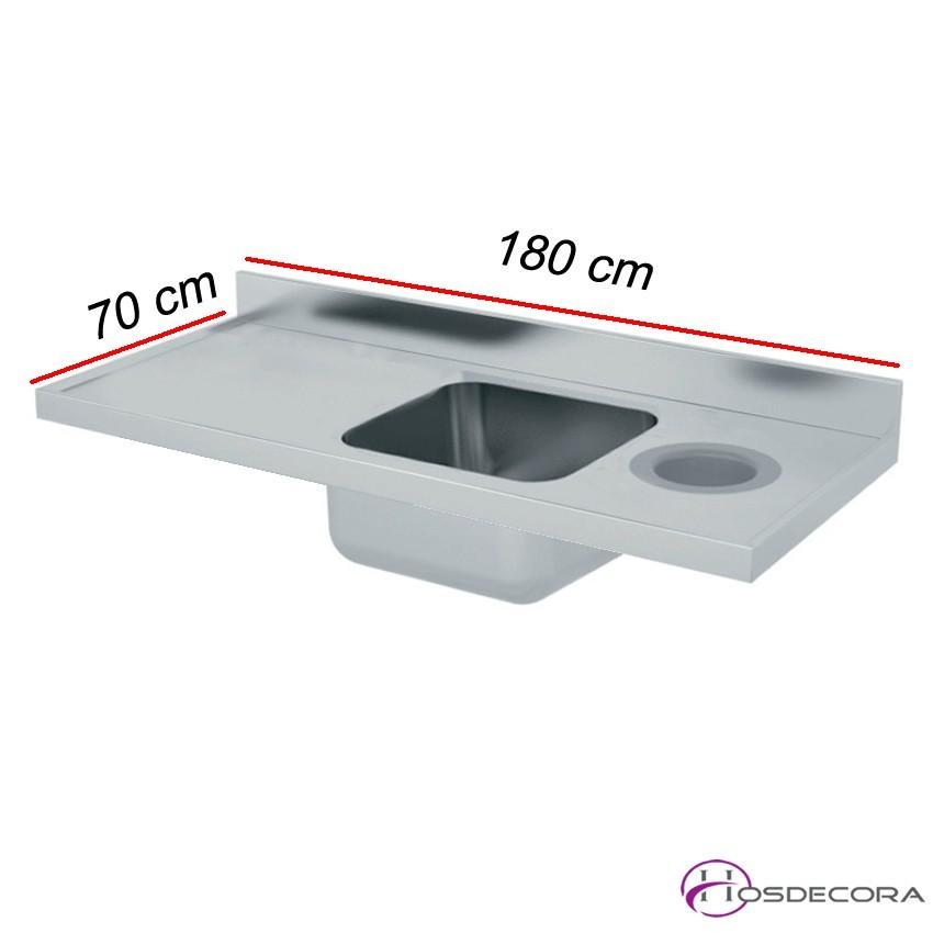 Fregadero con aro de desbarce 140 X 70 cm