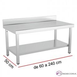 Mesa baja mural con estante Fondo 50 - Ancho desde 60 a 240 cm