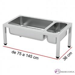 Estante de sobremesa portacubetas Fondo 36 - Largo desde 75 a 145 cm