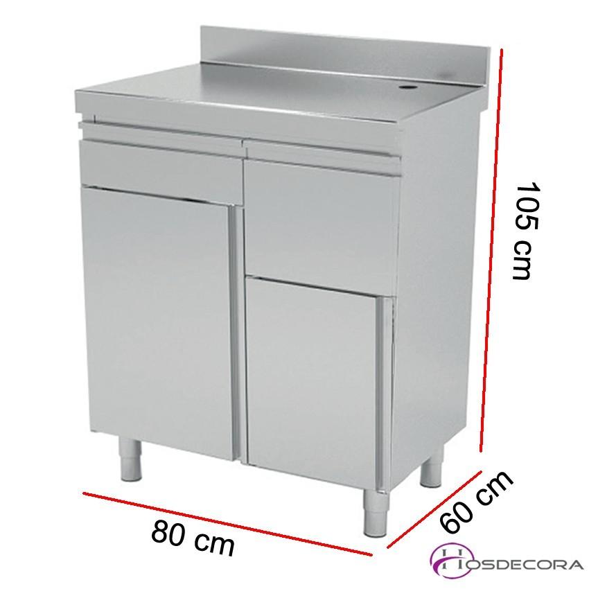 Mueble cafetero en acero inox 80 x 60 x 105 cm