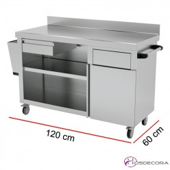 Mueble de apoyo para terraza Largo 120 o 150 x 60 cm Fondo
