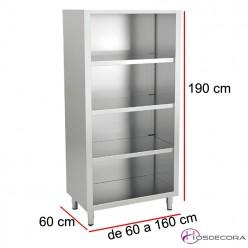 Armario de pie abierto 3 estantes Largo de 60 a 160 cm x 60 Fondo