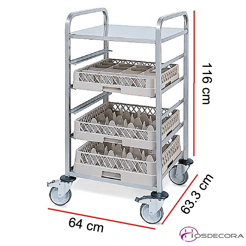 Carro de transporte para cestas 5 Guías - 64 x 63.3 cm