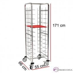Carro de transporte con 12 Guías para bandejas de 365 a 420 mm anchura.
