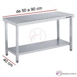 Mesa central con estante Fondo 40 - Largo de 50 a 90 cm