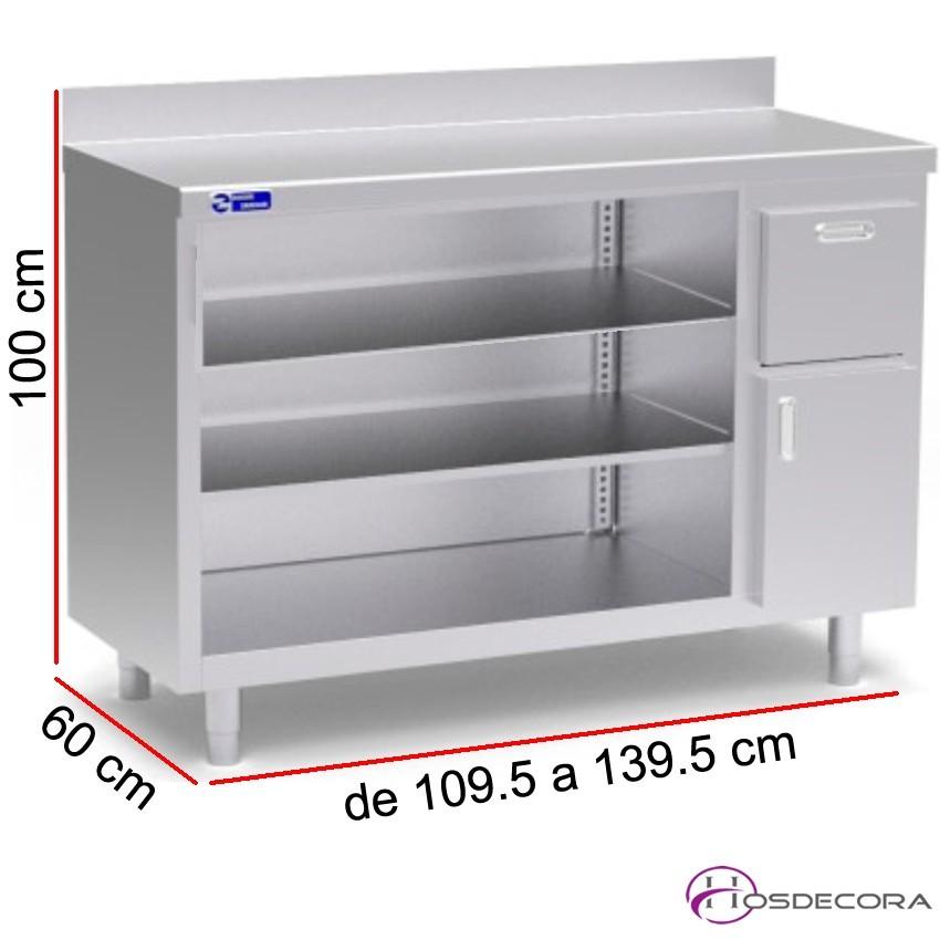 Mueble cafetero 2 estantes, cajón posero, Fondo 60 cm