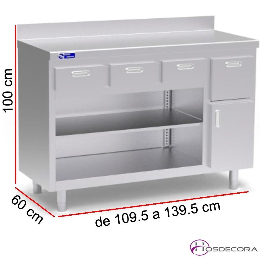 Mueble cafetero 1 estante, cajón posero, Fondo 60 cm
