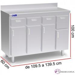 Mueble cafetero con puertas y cajón posero, de Fondo 60 cm