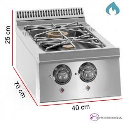 Cocina de sobremesa a gas 2 Fogones - 14 kW