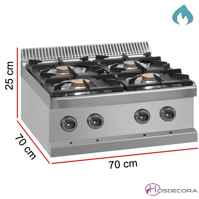 Cocina de sobremesa a gas 4 Fogones - 28 kW