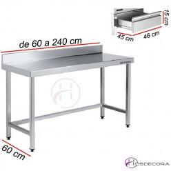 Mesa de trabajo mural con cajón y fondo 60 cm- Largo de 60 a 280 cm