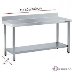 Mesa acero inox Central Sin estante 60 x 50 cm