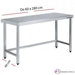 Mesa acero inox Central sin estante 60 x 60 cm