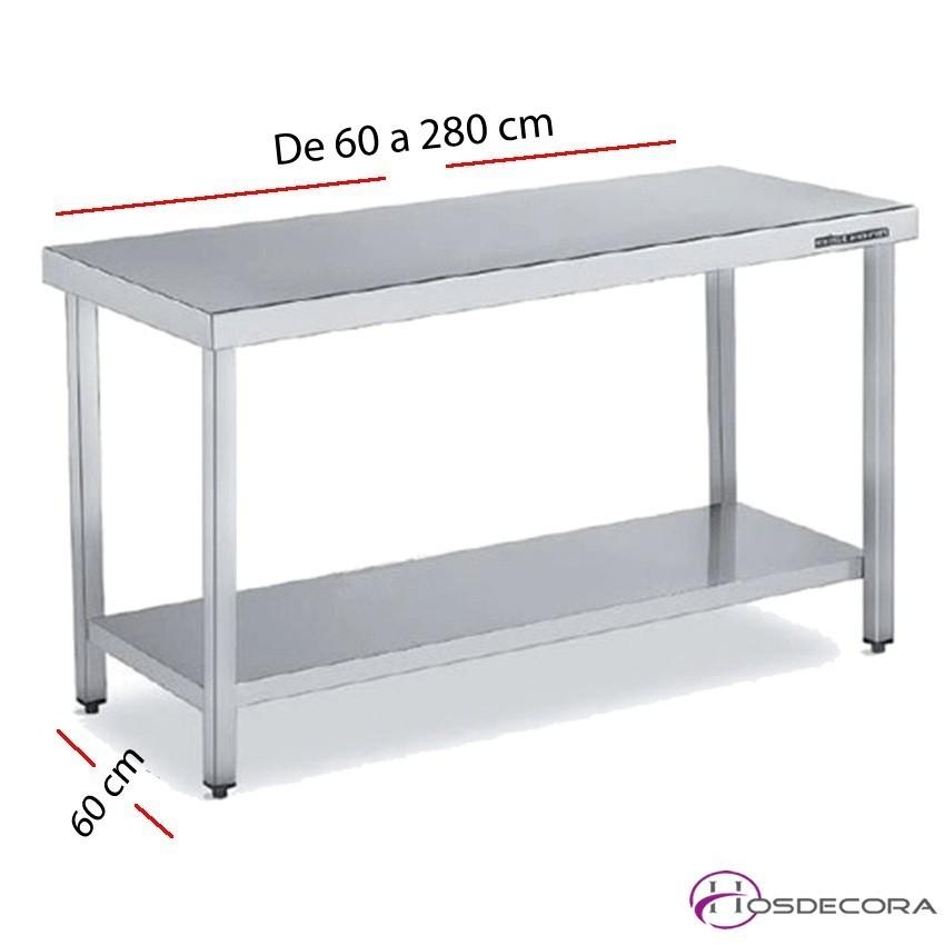 Mesa acero inox Central con estante de varias dimensiones