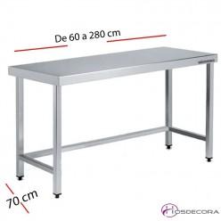 Mesa acero inox Central con estante 60 x 70 cm