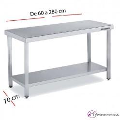 Mesa acero inox Central con estante 60 x 60 cm