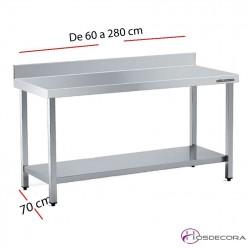 Mesa acero inox Central Sin estante 60 x 70 cm