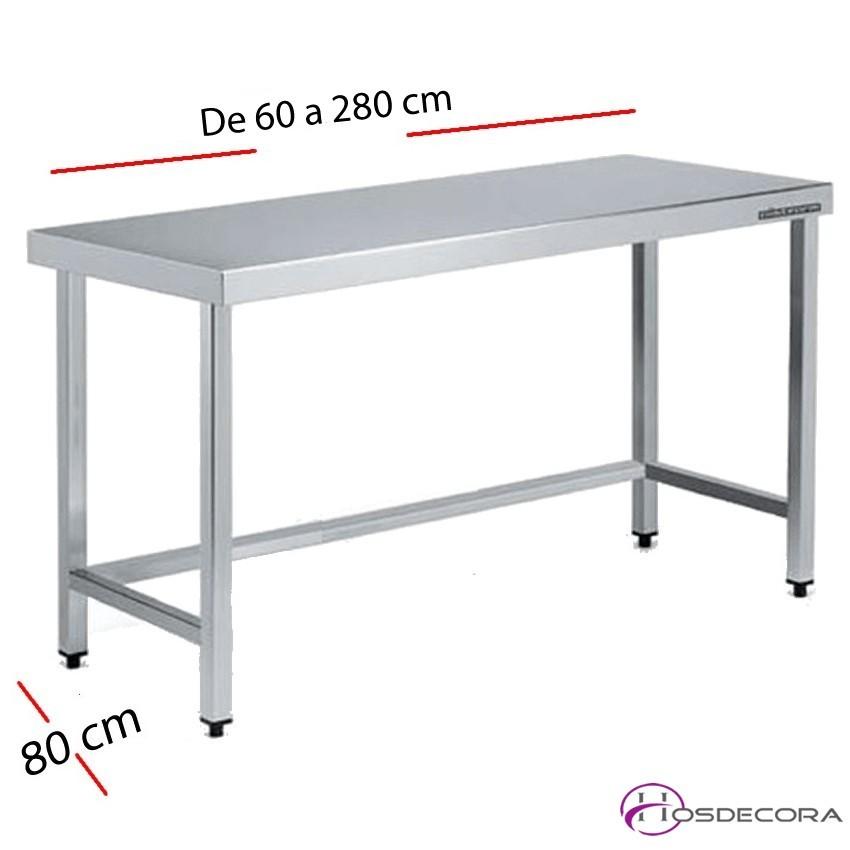 Mesa acero inox Central con estante 60 x 80 cm