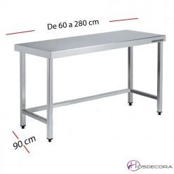 Mesa acero inox Central con estante 60 x 90 cm