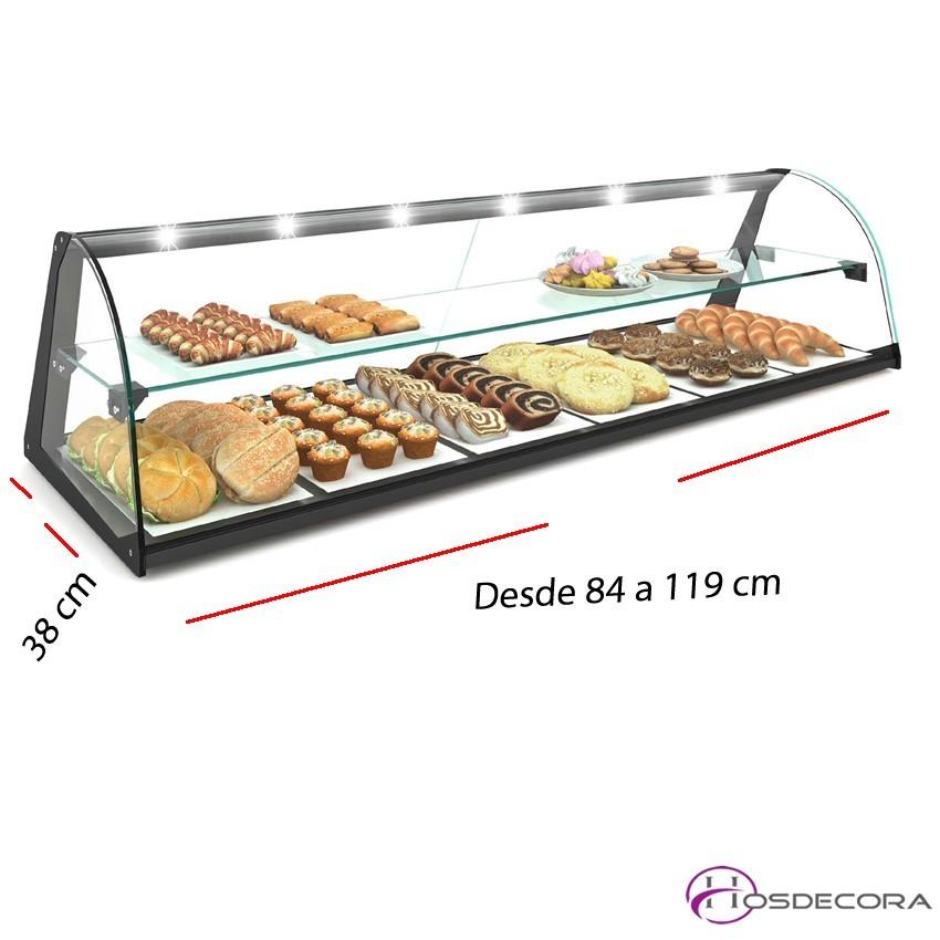 Vitrina de cristal neutra DOBLE desde 84 a 119 cm.