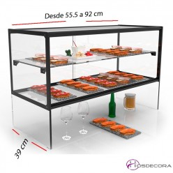 Vitrina doble con pasa platos desde 55.5 a 92 cm
