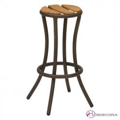 Taburete de bar mod Atenas con asiento de madera de teka