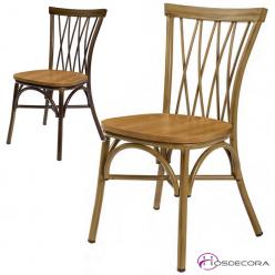 Silla para bares y cafeterías con asiento madera.