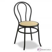 Silla bar cafetin con asiento plástico crema.