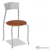 Silla para hosteleria con asiento de madera Guaro y estructura de forja