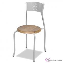 Silla de bar con asiento imitacion a madera Guaro