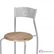 Detalle de Silla de bar con asiento imitacion a madera Guaro