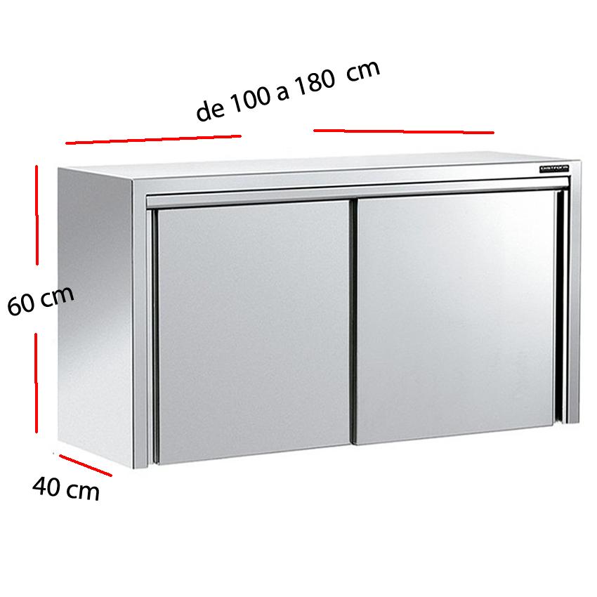 Armario inoxidable para cocina con dos puertas