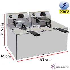Freidora doble eléctrica 7x7 Litros 2x3500W
