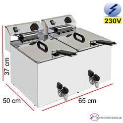 Freidora doble eléctrica con grifo 10x10 Litros 2x4500W