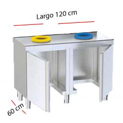 Mesa acero con puertas y orificios para la clasificación de residuos.