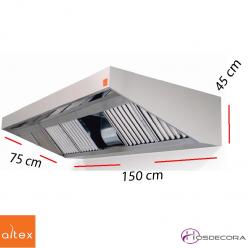 Campana inox ECO PLUS de 150 x 75 cm.