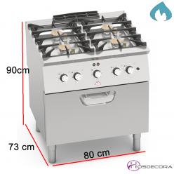 Cocina a Gas + Horno Eléctrico Fondo 70- 4 Fuegos 3.5 y 7 KW-