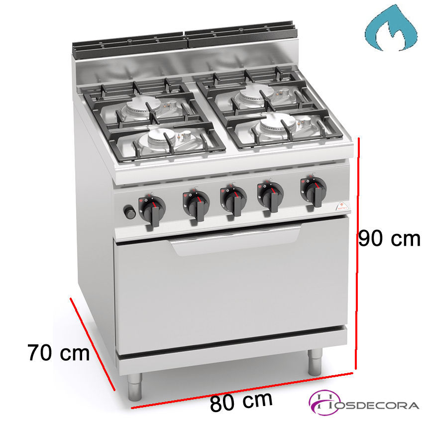 Cocina a Gas + Horno Fondo 70- 4 Fuegos 3.5 y 7 KW-G7F4+FG