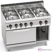 Cocina a Gas + Horno Fondo 70- 6 Fuegos 3.5 y 7 KW-G7F6+FG